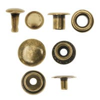 Create Recklessly, Eyelet / Rivet / Snap Hardware Kit, 58 Total Pieces, Antiqued Brass Plated