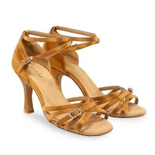 Sansha Adult Dark Tan Satin Buckle Accent Adriana Ballroom Shoes Womens
