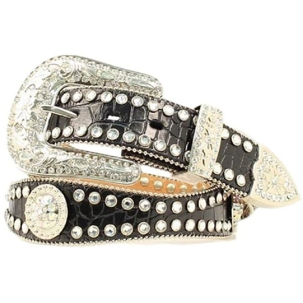 Blazin Roxx Western Belt Womens Crystal Scallop Gator Black