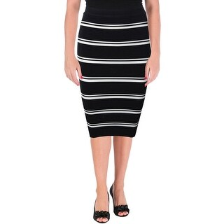 Olivaceous Womens Bandage Skirt Striped Pull On