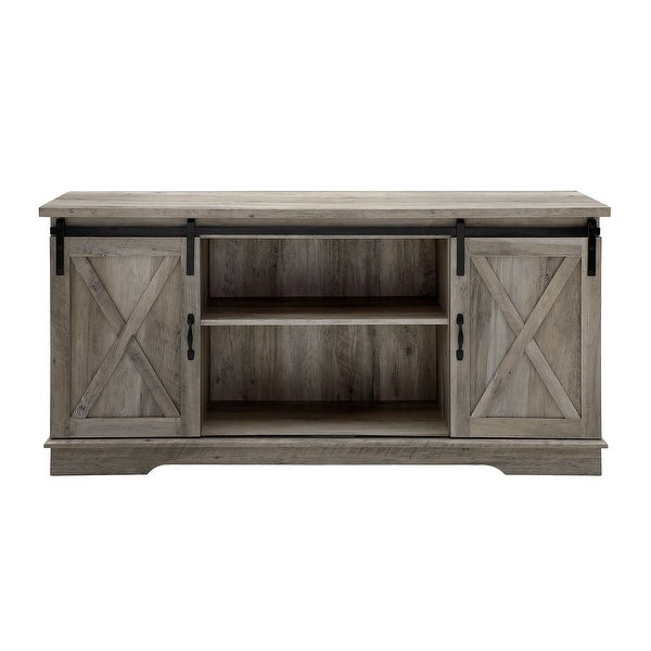 "Delacora WE-BD58SBD Bandera 58"" Wide Farmhouse Style TV Stand with Barn Doors"
