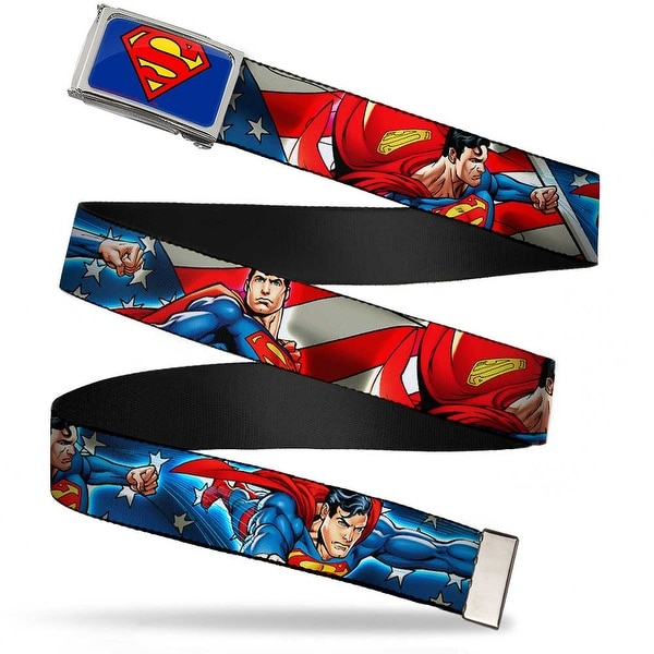 Superman Fcg Blue Chrome Superman Action Poses Stars & Stripes Webbing Web Belt