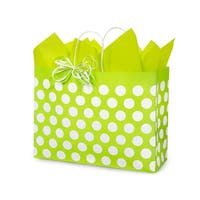 """Pack Of 250, Vogue Citrus Polka Dots Recycled Bags 16 X 6 X 12.5"""" For Gift Packaging"""