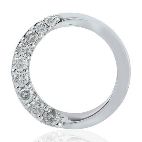 Artisan 10kt White Gold Natural Diamond Circle Shape Pendant Jewelry