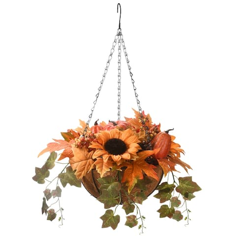 "18"" Harvest Hanging Basket with Ivy"