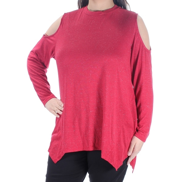 62cd09e649467 Shop STYLE   COMPANY Womens Red Metallic Cold Shoulder Long Sleeve Crew  Neck Handkerchief Top Plus Size  1X - Free Shipping On Orders Over  45 -  Overstock - ...