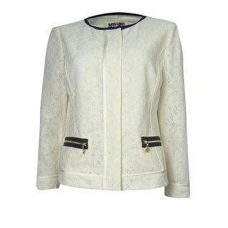 Anne Klein Women's Crochet Skyline Jacket - Ivory