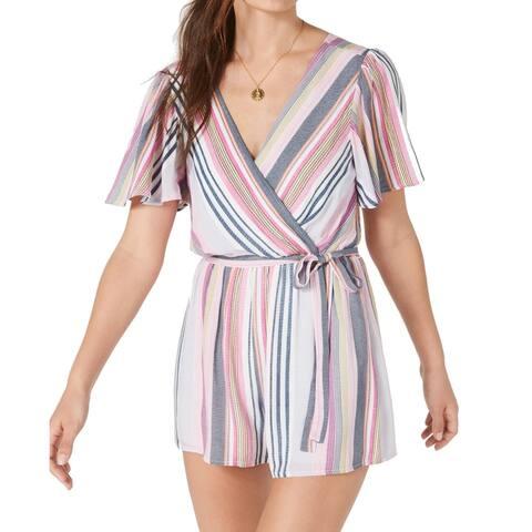 Trixxi Womens Pink Size Small S Open Back Kimono Striped Romper Rayon 097