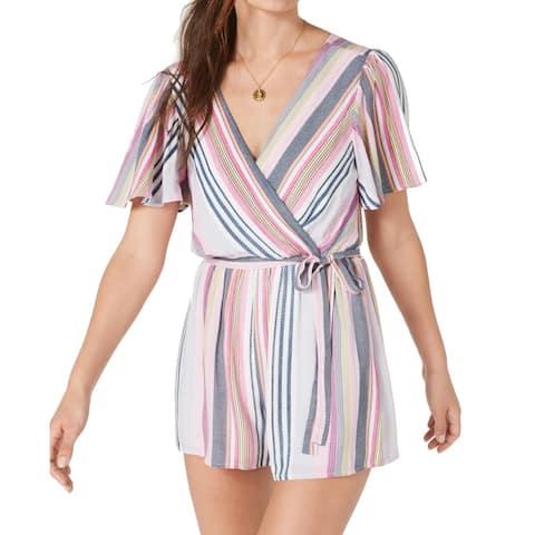 Trixxi Womens Romper Pink Size Small S Striped Surplice Flutter Sleeve