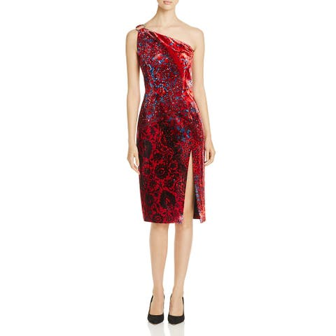 Elie Tahari Carter Women's Velvet Floral Print One Shoulder Cocktail Dress