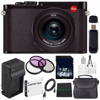 Leica Q (Typ 116) Digital Camera + Replacement Lithium Ion Battery + External Rapid Charger + SD Card USB Reader Bundle