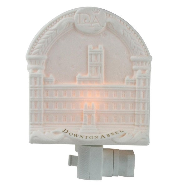 "5.75"" Arched Downton Abbey Highclere Castle Bisque Porcelain Decorative Night Light - White"