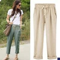 Women Elastic Waist Breathable Cotton Pants
