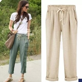 Women Elastic Waist Breathable Cotton Pants