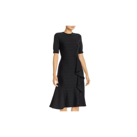 Shoshanna Black Short Sleeve Knee Length Fit + Flare Dress Size 6