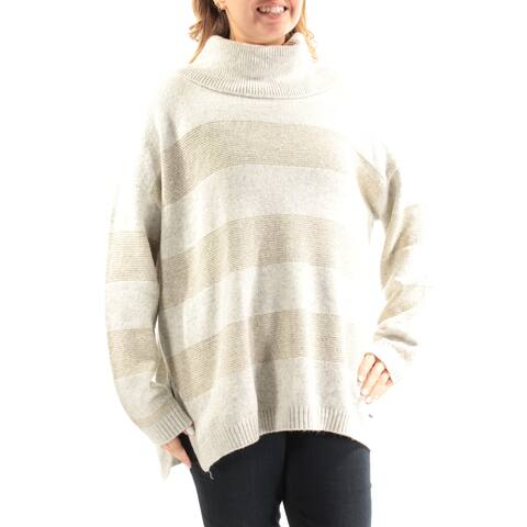 TOMMY HILFIGER Womens Gold Glitter Long Sleeve Cowl Neck Sweater Size: L