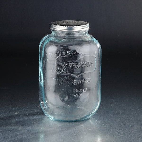 "6"" Clear Cracker Glass Storage Jar with Aluminum Lid - N/A"