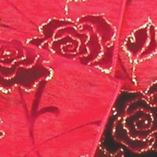 """Metallic Red and Gold Satin Rose Wired Craft Ribbon 3"""" x 20 Yards"""