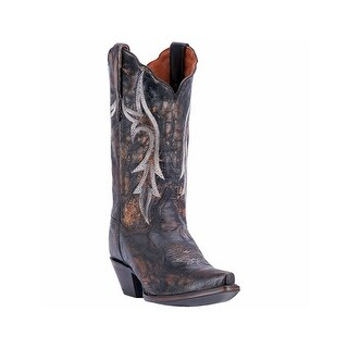 Dan Post Western Boots Women Knockout Distressed Snip Toe Black
