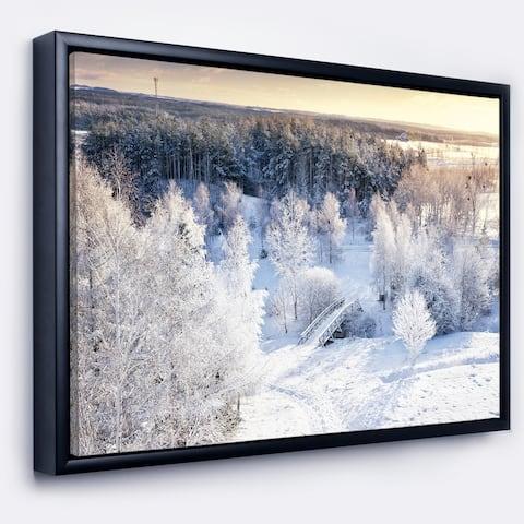 Designart 'Beautiful Winter Panorama' Large Landscape Framed Canvas Art Print