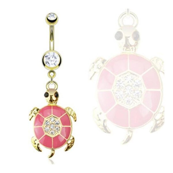 Gold Plated Stainless Steel Pink Epoxy Paved Gem Turtle Navel Belly Button Ring