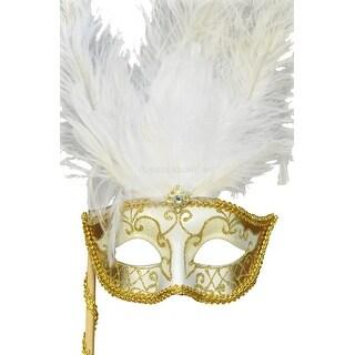 Pure Seasons Colombina Vanity Fair Venetian Mask (White/Gold) - Multi