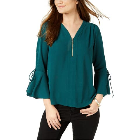 Ny Collection Womens Zipper Neck Pullover Blouse - PL