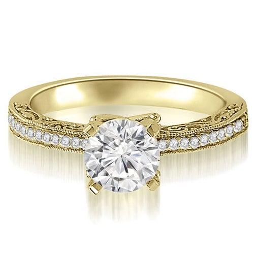 0.65 cttw. 14K Yellow Gold Antique Milgrain Round Cut Diamond Engagement Ring