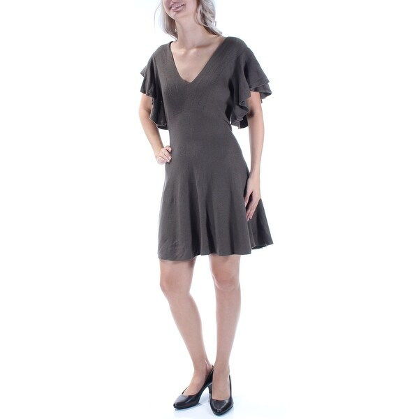 Shop FREE PEOPLE Womens Gray Ruffled Sweater Short Sleeve V Neck Above The  Knee Fit + Flare Dress Size  S - Free Shipping On Orders Over  45 -  Overstock - ... 9128c0cbe