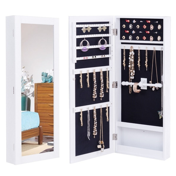 Shop Gymax Jewelry Cabinet Wall Mounted Mirrored Armoire ...