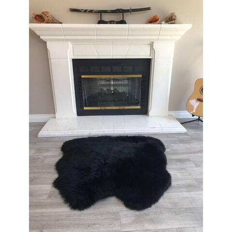 """Dynasty Natural 2-Pelt Luxury Long Wool Sheepskin Black Shag Rug - 3' x 3'6"""""""