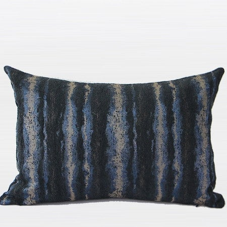 "G Home Collection Luxury Blue Mix Color Stripe Pattern Metallic Chenille Pillow 14""X20"""