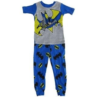 DC Comics Boys Grey Royal Blue Batman Cotton Short Sleeve Pajama Set