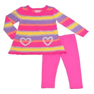 Flapdoodles Little Girls Fuchsia Multi Stripe Heart 2 Pc Pant Outfit
