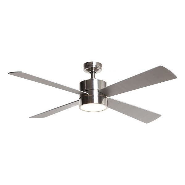 Brushed Chrome 52 4 Blade Led Ceiling Fan With Light Kit Overstock 31858125