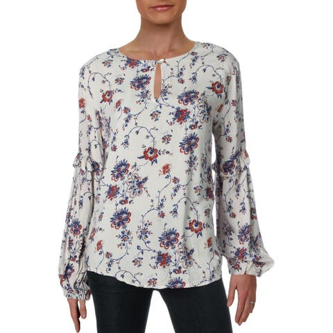 4Our Dreamers Womens Blouse Floral Puff Sleeve - Oatmeal Multi