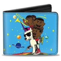 The New Day Feel The Power Pose + The New Day Logo Stars Blue Yellow Multi Bi-Fold Wallet - One Size Fits most