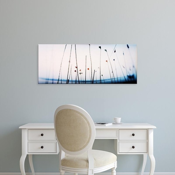 Easy Art Prints Panoramic Images's 'Flags on the ghat, Ganges River, Varanasi, Uttar Pradesh, India' Canvas Art