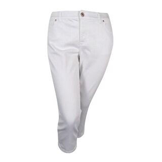 INC International Concepts Women's Plus Size Slim-Tech Cropped Jeans - white denim