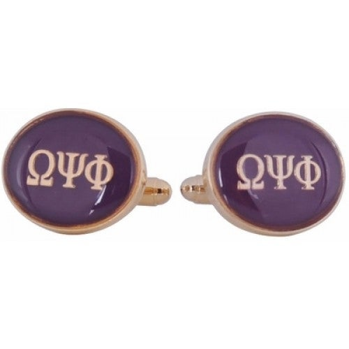 Omega Psi Phi Purple Gold Fraternity Greek Howard University Cufflinks