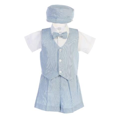 Lito Little Boys Light Blue Vest Shorts Hat Easter Outfit Set