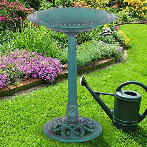 Costway Green Pedestal Bird Bath Feeder Freestanding Outdoor Garden
