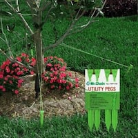 """4ct Heavy Duty Green All Purpose Utility Peg Stakes 9"""""""