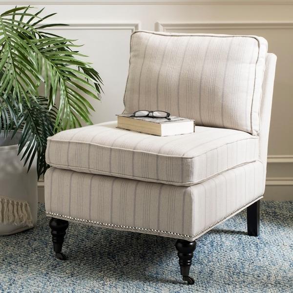 Shop Safavieh Randy Beige Stripe Armless Club Chair 24