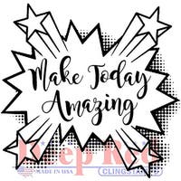 """Deep Red Cling Stamp 3""""X4""""-Amazing Day"""