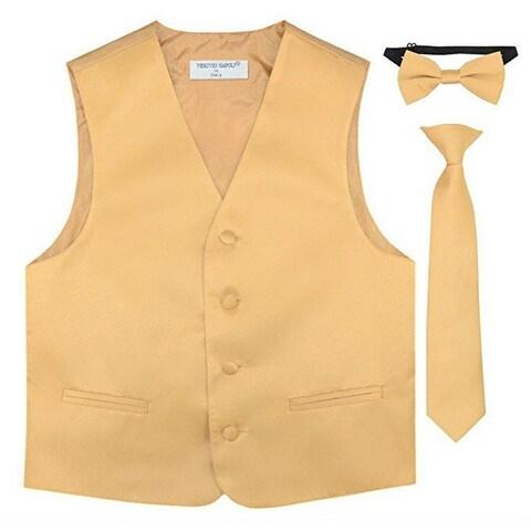 Boys Gold Vest Bow-tie Tie Special Occasion 3 Pcs Set