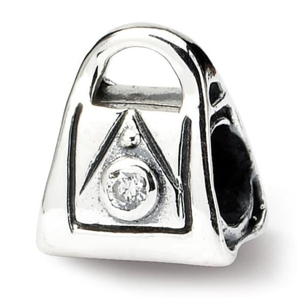 Sterling Silver Reflections Kids CZ Handbag Bead (4mm Diameter Hole)