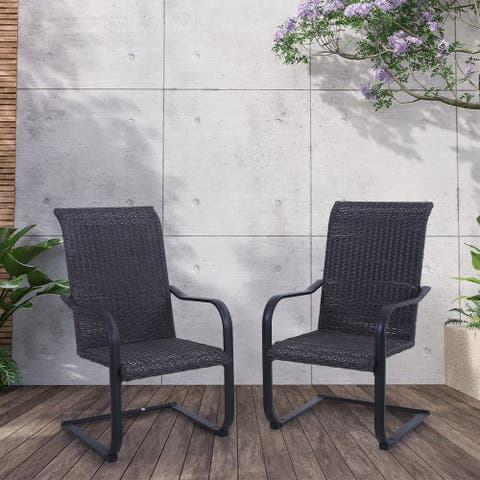 Sophia & William Patio Dining Chairs, 2 C-Spring Rattan Chairs