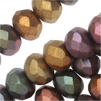 Czech Fire Polished Glass, Donut Rondelle Beads 8.5x6mm, 25 Pieces, Violet Rainbow