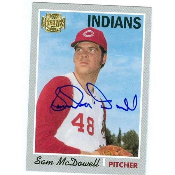 Sam Mcdowell Autographed Baseball Card Cleveland Indians 2002 Topp